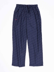 Women Navy & White Printed Polyester Relaxed Pajama
