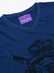 KINGS CLUB COUTURE LONDON ROYAL BLUE V NECK T SHIRT