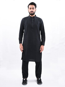 Men Black Straight Kurta Pajama