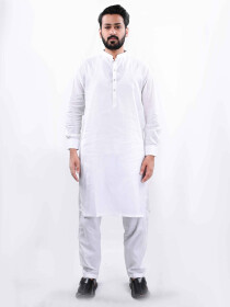 Men White Straight Kurta Pajama
