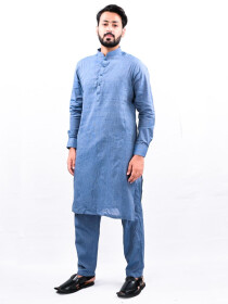 Men Royal Blue Straight Kurta Pajama