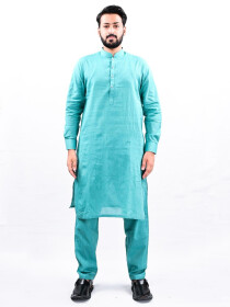 Men Mint Blue Straight Kurta Pajama