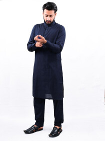 Men Navy Blue Straight Kurta Pajama