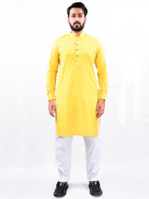 Men Yellow Straight Kurta With White Pajama
