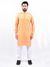 Men Orange Straight Kurta With White Pajama