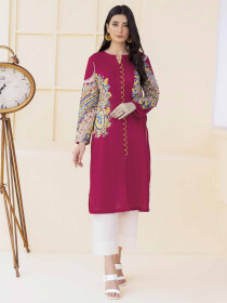 Pink Printed Unstitched Lawn Shirt for Women