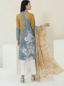 Ochre Printed Lawn Unstitched 2 Piece Suit for Women