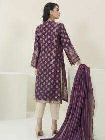Plum Jacquard Unstitched 2 Piece Suit for Women