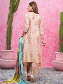 Tea Pink Printed Jacquard Unstitched 3 Piece Suit for Women