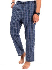 Blue & White Multi Check Lightweight Cotton  Relaxed Pajama
