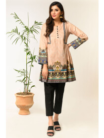 Peach Printed Stitched Lawn Shirt for Women
