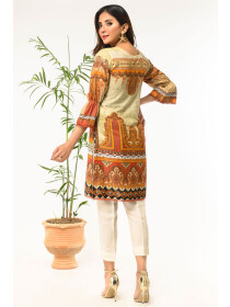 Coral Printed Stitched Lawn Shirt for Women
