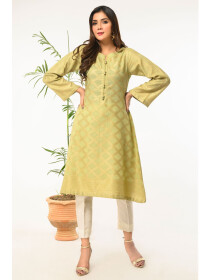 Gold Printed Stitched Jacquard Shirt for Women