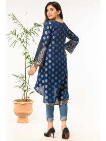 Dark Blue Printed Stitched Jacquard Shirt for Women