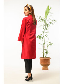 Red Embroidered Stitched Cotton Shirt for Women