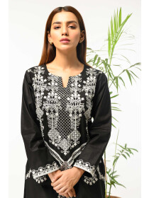 Black Embroidered Stitched Cotton Shirt for Women