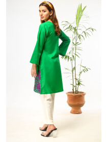 Green Embroidered Stitched Cotton Shirt for Women