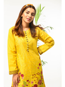 Yellow Embroidered Stitched Cotton Shirt for Women