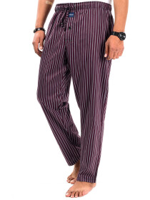 Maroon/White Cotton Blend Relaxed Pajama