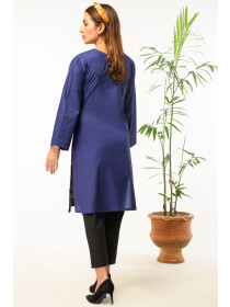 Blue Embroidered stitched Cotton Shirt for Women