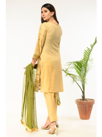 Skin Embroidered Stitched 3 Piece Cotton Suit for Women