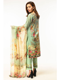 Lime Green Digital printed Stitched 3 Piece Lawn Suit for Women