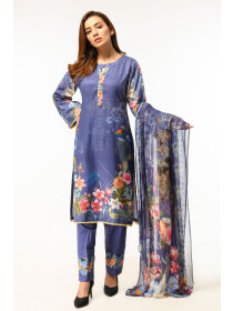 Blue Digital printed Stitched 3 Piece Lawn Suit for Women