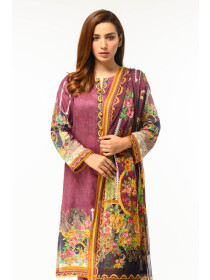 Rust Digital printed Stitched 3 Piece Lawn Suit for Women