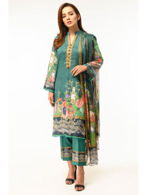 Green Digital printed Stitched 3 Piece Lawn Suit for Women
