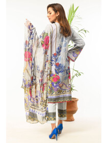 Grey Digital printed Stitched 3 Piece Lawn Suit for Women