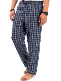 Blue/Beige Multi Check Cotton Relaxed Pajama