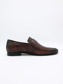 Antique Two tone penny brown Loafer Men's Shoe