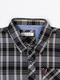 Boys Black & White Check Sleeve Woven Shirt