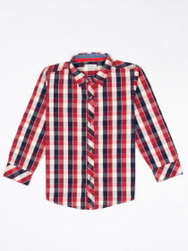 Boys Black, Red & White Check Sleeve Woven Shirt