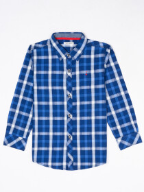 Boys Blue & White Check Sleeve Woven Shirt