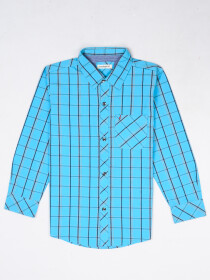 Boys Turquoise & Black Check Sleeve Woven Shirt
