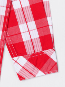 Boys Red & White Double Pocket Woven Shirt