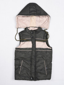 Olive & White  Kids sleeveless Puffer Jacket With Hood