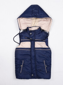Off-White & Blue Kids sleeveless Puffer Jacket With Hood