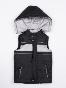 Black Kids sleeveless Puffer Jacket With Hood