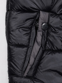 Dark Grey Kids sleeveless Puffer Jacket With Hood