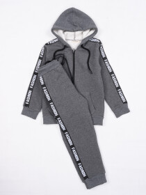 Kid's Sports Wear Hoodie Track Suit Dark Grey