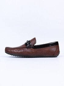 Masculino Chocolate Brown Perforated Calarino Loafers