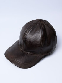 Men's Brown Vintage Adjustable Sheep Leather  Cap