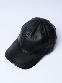 Men's Black Vintage Adjustable Sheep Leather  Cap