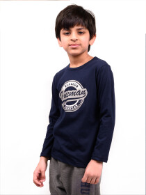 Big Boys Navy Blue Full Sleeves T-Shirt