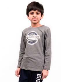Big Boys Grey Full Sleeves T-Shirt