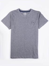 Little Boys GreyCotton V-Neck Tee Shirt