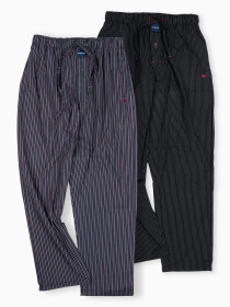 Maroon & Black Straight Lining Cotton Blend Relaxed Pajama Pack of Two