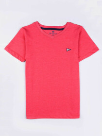 Little Girls Pink Cotton V-Neck Tee Shirt